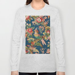 Antique French Chinoiserie in Blue Long Sleeve T-shirt