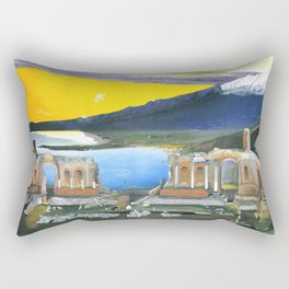 Tivadar Csontváry Kosztka - Ruins of the Greek Theatre at Taormina Rectangular Pillow