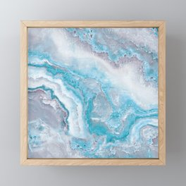 Ocean Foam Mermaid Marble Framed Mini Art Print