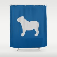 english bulldog Shower Curtains featuring English Bulldog (Blue/Grey) by Erin Rea