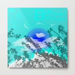 Superb Turquoise and Blue Sunrise Surrounded by Japanese Nature Landscape Metal Print