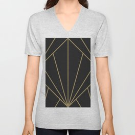 Diamond Series Sun Burst Gold on Charcoal Unisex V-Neck
