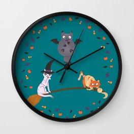 Happy Meowloween Wall Clock