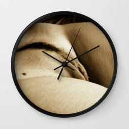 Erotic photography, body curves, hills and valleys of woman body, sexy adult shot in vintage sepia Wall Clock