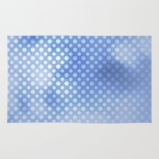 White polka dots on serentiy blue with bokeh texture Rug