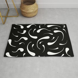 Black And White Squiggles Abstract Modern Art Rug