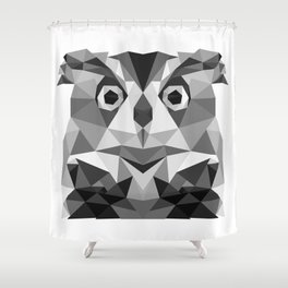 Grey Owl - low poly Shower Curtain