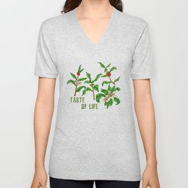 Coffee branch (with flowers) Unisex V-Neck