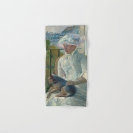 Young Girl at a Window Oil Painting by Mary Stevenson Cassatt Hand & Bath Towel