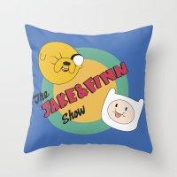 finn and jake Throw Pillows featuring The Jake & Finn Show. by Agu Luque