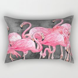 Flamingo Collage in Watercolor and Ink Rectangular Pillow