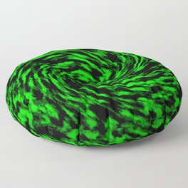 Green and Black Swirl Abstract Floor Pillow
