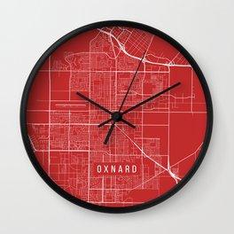 Oxnard Map, USA - Red Wall Clock