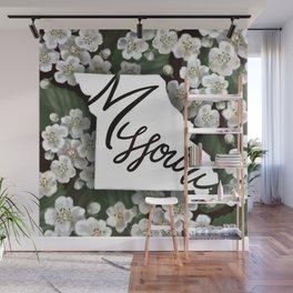 Missouri - white hawthorn blossom Wall Mural