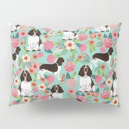 English Springer Spaniel florals cute dog art pet portraits by pet friendly dog breeds Pillow Sham