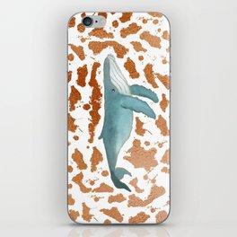 Blue Whale Swimming in Copper iPhone Skin