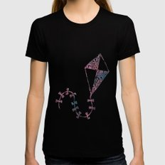 Theta Print-Pastel Black Womens Fitted Tee LARGE