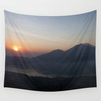 bali Wall Tapestries featuring Mount Batur Sunrse - Bali by Rachel's Pet Portraits