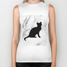 Marble black cat Biker Tank
