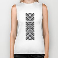 damask Biker Tanks featuring Black Damask  by Elena Indolfi