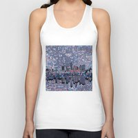 texas Tank Tops featuring austin texas city skyline by Bekim ART