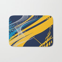 Blue Yellow  Abstract Future Technical Bath Mat