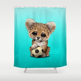 Leopard Cub With Football Soccer Ball Shower Curtain