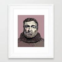 hemingway Framed Art Prints featuring Hemingway by Adrienne Lobl