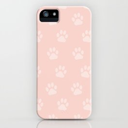 Cute Cat Paw Print Pattern – Baby Pink iPhone Case