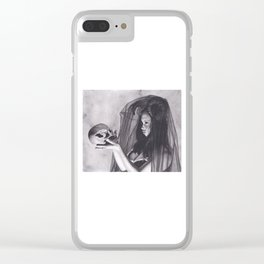 Realism Charcoal Drawing of Sexy Dark Queen in Veil with Skull Clear iPhone Case