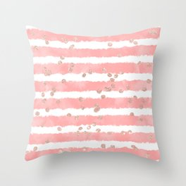 Rose gold confetti pink blush watercolor stripes modern chic pattern Throw Pillow