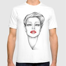 Red Lips Mens Fitted Tee White MEDIUM