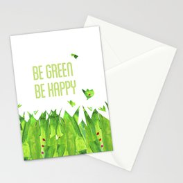Be green, be happy Stationery Cards