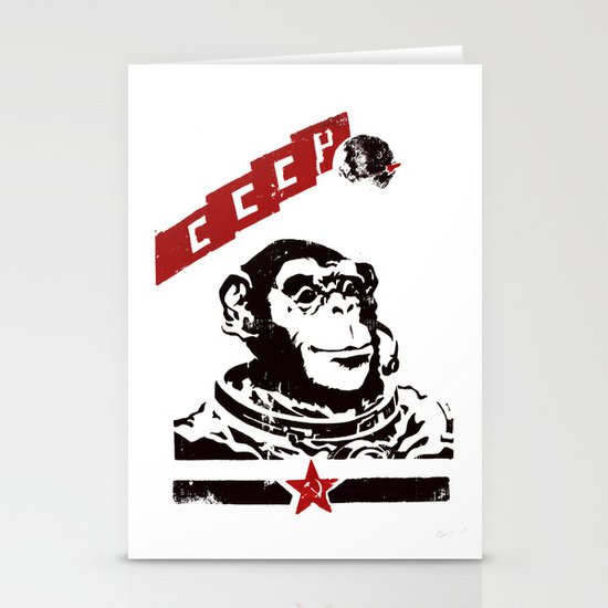 Soviet Space Monkey Stationery Cards