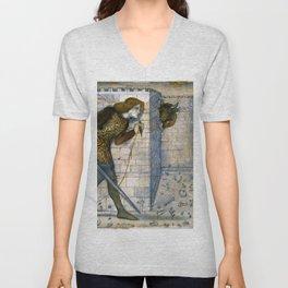 Edward Burne-Jones  - Tile Design - Theseus and the Minotaur in the Labyrinth Unisex V-Neck