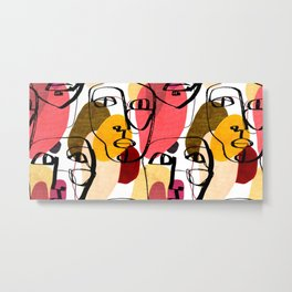Portraits of a woman in modern abstract style. Hand-drawn raster seamless pattern Metal Print