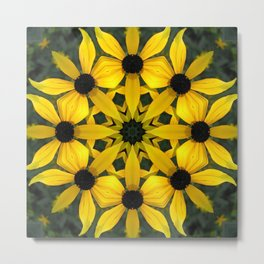Black-eyed susan kaleidoscope, mandala Metal Print