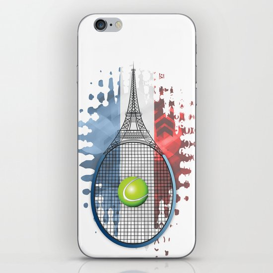 Racquet Eiffel Tower with French flag colors in background iPhone & iPod Skin