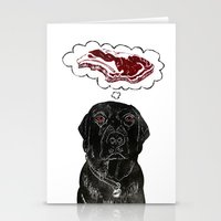 marley Stationery Cards featuring Marley Dreams of Meat by minouette