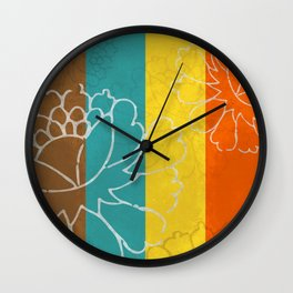 Chinese Flowers & Stripes - Orange Yellow Turquoise Brown Wall Clock