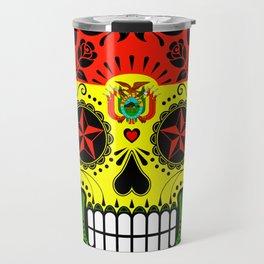 Sugar Skull with Roses and Flag of Bolivia Travel Mug