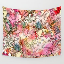 Summer Flowers | Colorful Watercolor Floral Pattern Abstract Sketch Wall Tapestry