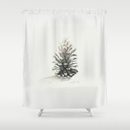 Pinecone Watercolor Shower Curtain