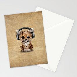 Cute Leopard Cub Dj Wearing Headphones Stationery Cards