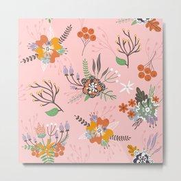 Fall Floral Pattern Metal Print