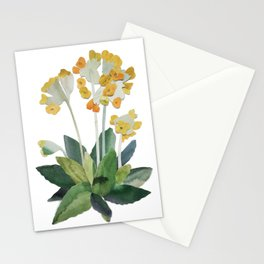 watercolor primrose yellow flower Stationery Cards