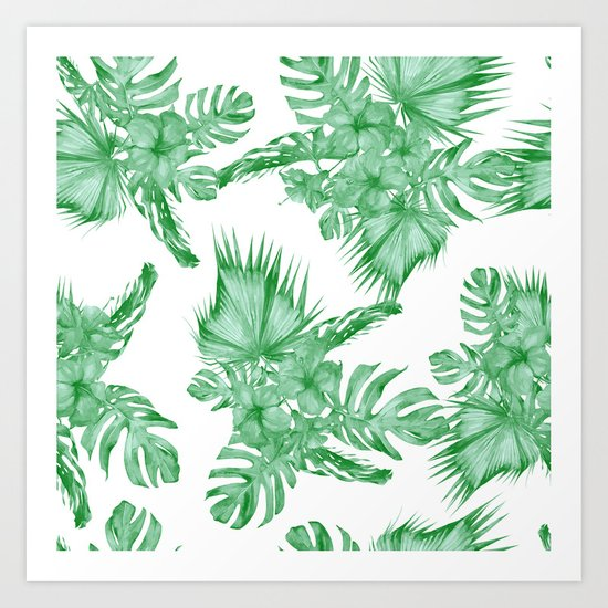 Palm Leaves and Hibiscus Tropical Green Art Print