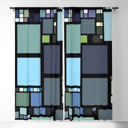 Analogous Color Block/Tile Art (muted shades of green, blue, slate blue, and grays) Blackout Curtain