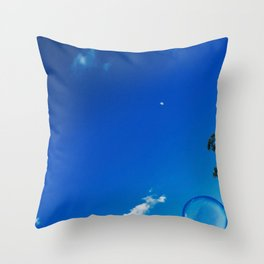 Soap Bubble and Moon Photography Throw Pillow