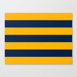 Slate Blue and Golden Yellow Stripes Canvas Print